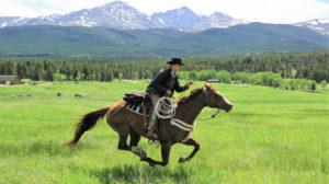 A man riding a horse.