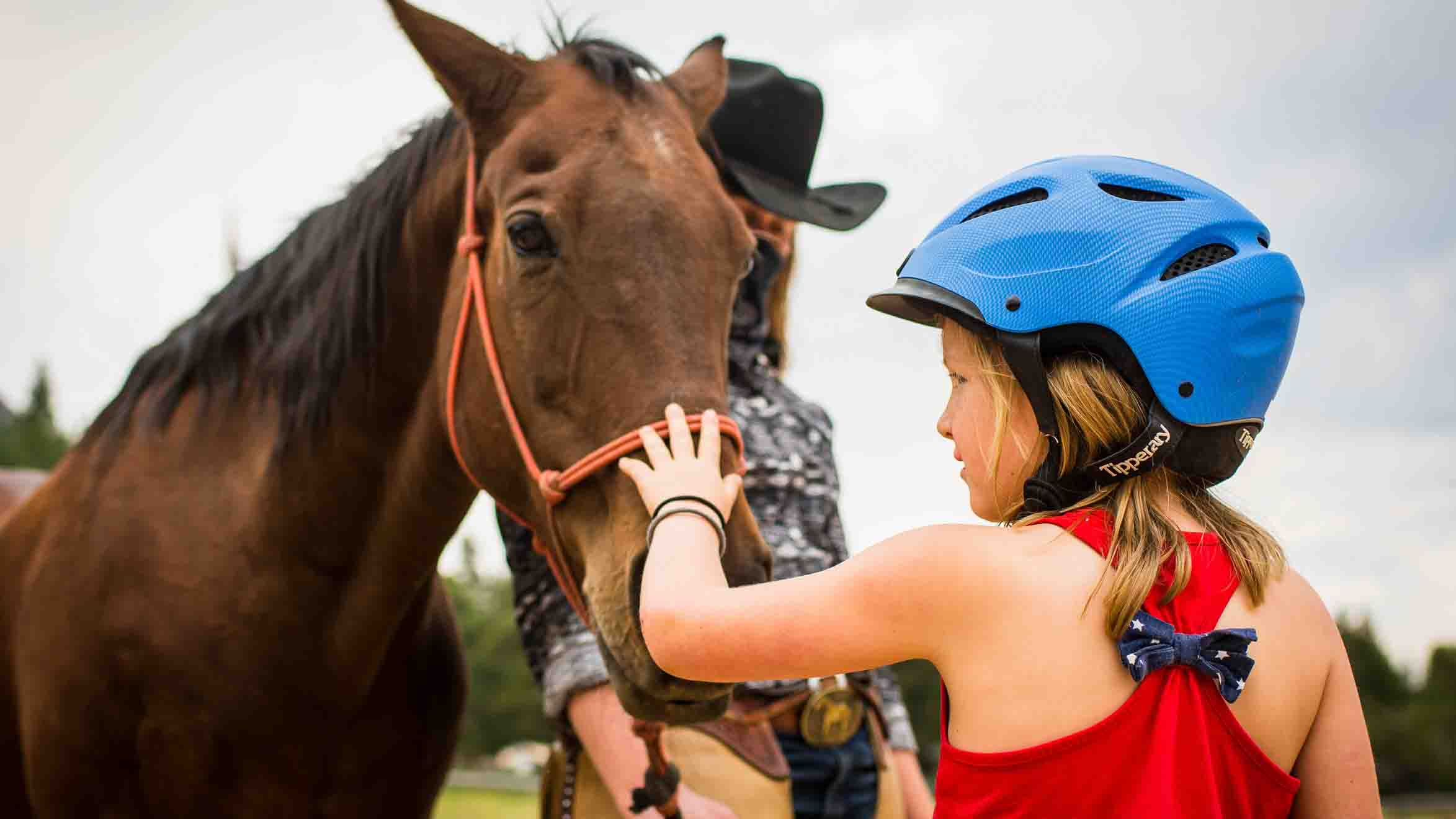 Little girl petting horse