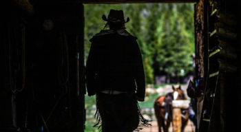 The silhouette of a women walking out of a stable.