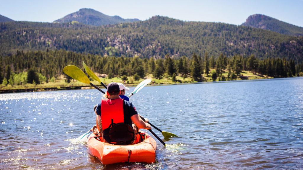 The view of man kayaking.